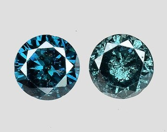 See Video! 0.40 Ct 3.8mm Round Matching Pair Sparkling Blue Natural Diamond