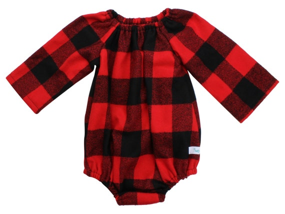 Red Buffalo Plaid Baby Romper Toddler Romper Plaid Flannel Romper with Snaps Christmas Romper Dress Long Sleeve Romper Winter Romper Fall