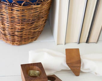 Set of 4 Danish Modern Napkin Rings - Vintage Burma Teak Mid Century Modern Napkin Rings Solid Wood