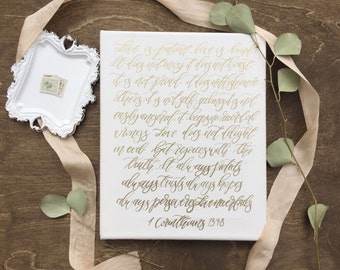 1 Corinthians gold and white canvas calligraphy