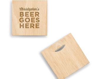 Personalized Coasters with Built-In Bottle Opener - Beer Goes Here - Beer Lover - Personalized Gift - Man Cave - 2 Coasters - Craft Beer