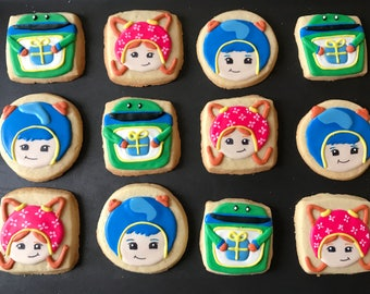 12 TEAM UMIzoomi inspired vanilla sugar cookies - roBot birthday party - favors