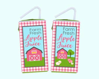 Farm Party Juice Box Wrapper. Farm Fresh Juice Box Wrapper. Pink Farm Party Decorations. Instant Digital Download