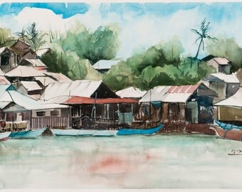 """Urban landscape, Pang Lo, Thailand, watercolor painting, original painting, travelling the world, Far East 38X57 CM (15""""X22.4"""")"""