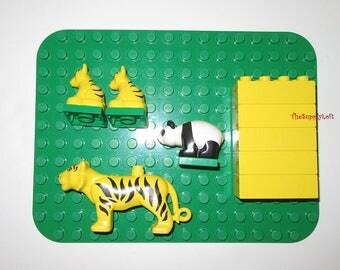 Vintage Lego Duplo Safari Zoo Animals Set Panda Tiger Baby Tigers Yellow Bricks Green Platform - Collectible Customization Art Toy Supplies