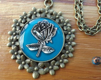 Rose pendant, rose necklace, rose jewellery, flower pendant, flower necklace, flower jewellery, blue pendant, rose gift