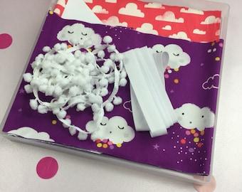 Rainbow Cloud Sew Your Own Bunting Kit Craft Kit Girls Room Decor Sewing Kit Purple Bunting Cloud Bunting DIY Kit