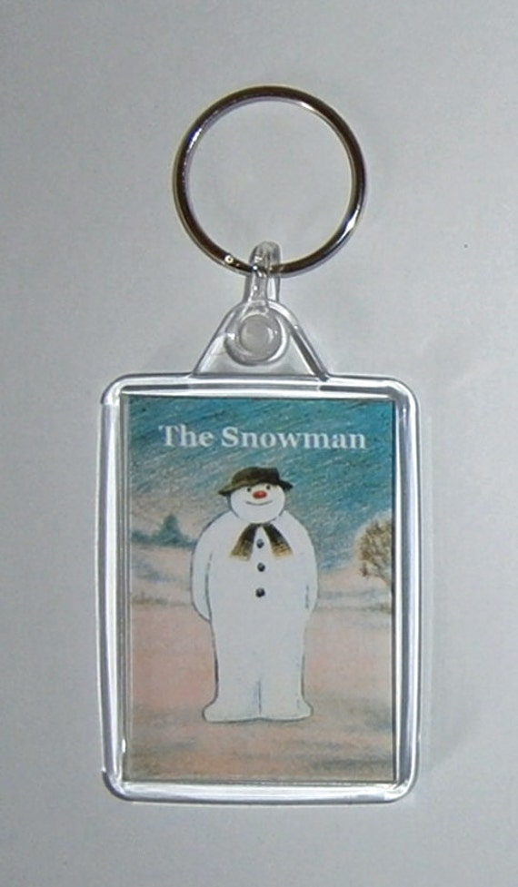 Christmas Movies The Snowman Keyring Keychain available in Blue Green White or Clear connectors