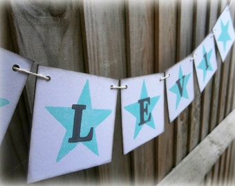 Personalized Name Banner/Boys name garland/boys bedroom decorations/bedroom sign/name sign/mint green star and grey name banner