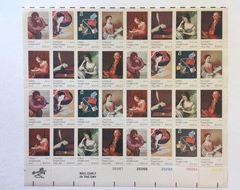 10 vintage 10c US postage stamps - Universal Postal Union Letters mingle souls 1974 - writers poets painters romantic - unused