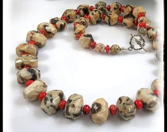 Fieldpath Grapic Jasper, Tan and Red Jewelry, Tan and Gray Jewelry, Silver Toggle, Long Necklaces, Gemstone Jewelry, Unique Gemstones