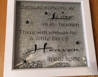 Because someone we Love is in Heaven, There's a little bit of Heaven in our Home. In Loving Memory Frame, with feathers and gems