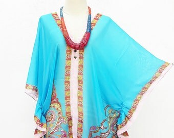 Kaftan Kimono Beach Cover up Bikini Cyan Blouse Butterfly sleeves Tunic Gift Top Maternity Swimwear Plus size see through colorful Summer