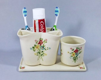 White ceramic toothbrush holder,  a cup and a rectangular saucer set. Toothpaste holder, Bathroom accessories, bathroom set, retro style