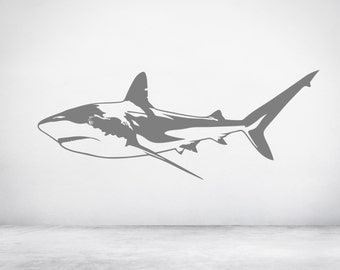 Great White Shark, Jaws, Wall Sticker Decal Art. Any colour and a choice of sizes.(#151)