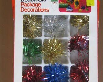 Vintage 1970 Christmas self-stick tinsel package decorations