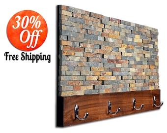 Hanging coat rack.free standing coat rack.coat stand.coat rack standing.coat hanger.wall coat rack.entryway hall (Stone Coat Rack)