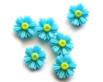 10 Blue Daisy Flatbacks - Resin Cabochons