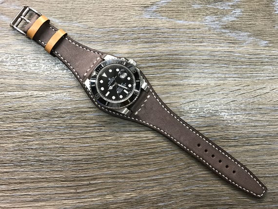 Handmade Real Leather cuff strap | Leather Cuff watch band | Cuff Band | Vintage Dark brown Leather Cuff watch Strap for all Rolex 20mm lug