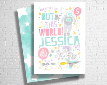 Space Birthday Invitation | Space Invitation  | Outer Space Invitation | Out of This World | Pink & Purple | DIGITAL FILE ONLY
