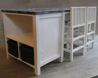 1/12th Scale Kitchen Island with Two Stools - Black & White
