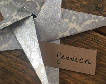 Origami Star Place Cards ~ Wedding Decorations ~ Table Settings ~ Paper Stars ~ Handmade Paper