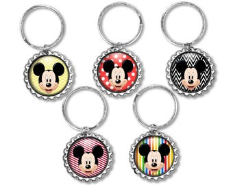 5 Disney MICKEY MOUSE 3D Bottle Cap Key Ring | Zipper Pull | Backpack Charm Birthday Party Favors