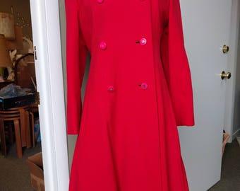 Red Coat Double Breast Wool Gabardine Women's Vintage Retro 1960's Valentines Day