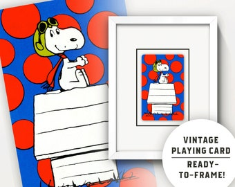 Snoopy Red Baron Art • Vintage Playing Card • Custom Matted 5X7 or 8X10 • Unique Peanuts Collectible • Ephemera • Wall Art • Gift!