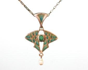 Vintage Art Nouveau style Silver Insect pendand Ploque a jour enamel Emerald, baroque pearl