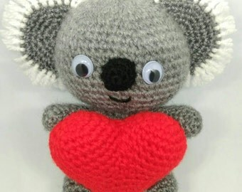 Amigurumi koala with heart doll - MADE TO ORDER -