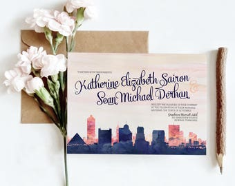 Memphis, TN Watercolor Skyline Wedding Invitations | 4 Piece Invitation Stationery Suite | CUSTOMIZED to Match Your Wedding
