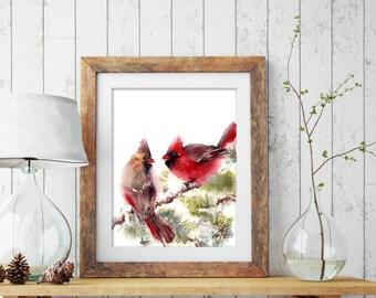 Cardinal birds art print, watercolor painting of northern cardinal pair, bird painting, bird illustration, bird art