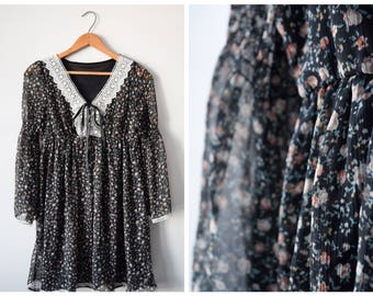 80s chiffon babydoll dress | S