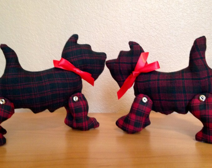 HALF PRICE ** Pair of Red Tartan Plaid Scottie Dogs. Huggable Soft Stuffed Scottish Terriers. Christmas Plaid Dog Pillows. Dog Lover Decor
