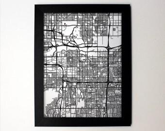 Tempe Map / Laser Cut Map / Tempe AZ / Tempe Art / Tempe Arizona / Framed Map / Wedding Gift / Anniversary Gift / Home Decor