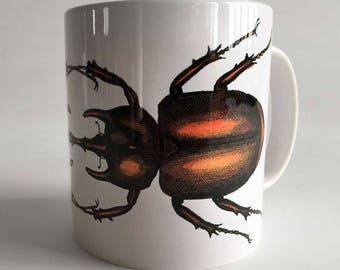 Beetle Mug. Natural History Print Coffee Cup