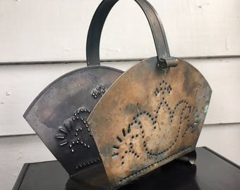Beautiful Vintage Pfaltzgraff Village Solid Copper Hole Punched Napkin Holder/Caddy
