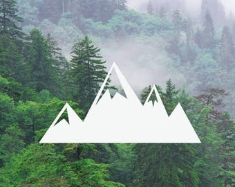 4 Mountains Decal, Mountain Range Decal, Adventure Decal, Nature Decal, Car/Laptop/MacBook Decal Mountains Sticker