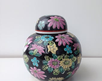 Vintage Chinese Ginger Jar with brightly colored flower design