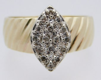"""Ladies 0.50 C.T.W. Marquise Shaped """"Big Top"""" Cluster Ring.  10K Yellow Gold #40258"""