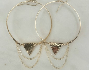 Boho hoop earrings / gold filled / sterling silver / lightweight / edgy / unique / unusual / gift / fun