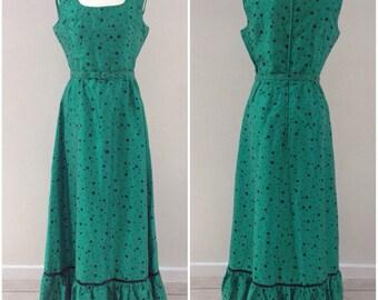 UK12 Carnegie of London dress vintage dress 1960's maxi dress polka dot dress long summer dress emerald green dress  black spots dress 14
