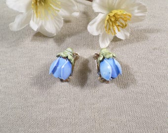 CORO! Beautiful Vintage Gold Tone Pair Of Blue And Green Enamel Flower Clip On Earrings Signed Coro  DL#1859