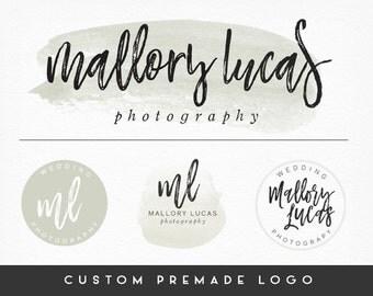 Premade Logo Design, Calligraphy Logo, Handwritten Logo, Cursive Logo, Watercolor, Photography Logo, Sub marks + Watermarks,  Branding Kit