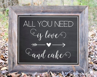 All You Need Is Love And Cake Chalkboard Sign Wedding Reception Party Print Printable