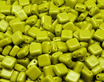 20pcs Two Hole Pressed CzechMates Glass Tile Beads 6mm Opaque Olivine