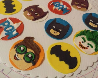 Lego Batman and friends fondant cupcake toppers and mini toppers
