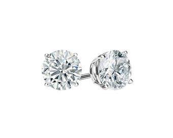 0.50 Carats Premium Quality G VS2 Ideal Cut Round Brilliant Diamond Studs in 14K White Gold