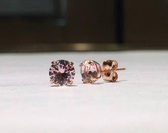 1.00 Carat Round Pink Morganite Stud Earrings in 14K Rose Gold